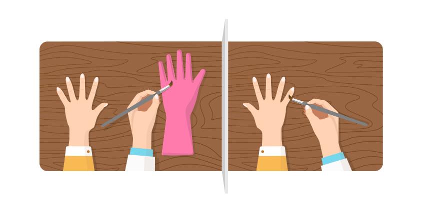 고무손 착각 실험 (Rubber hand illusion)