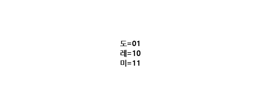 도=01, 레=10, 미=11
