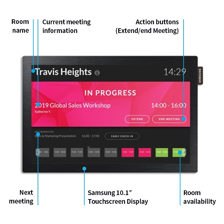 Check room names, control meeting status, and perform easy check-in's all from the display.